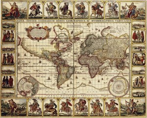 Antique Maps of the World Map of the World Nicolas Visscher c 1652
