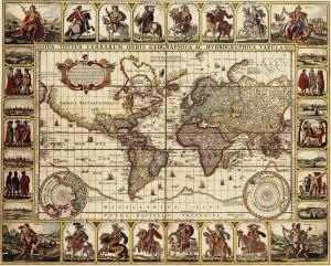 Antique Maps of the World Map of the World Nicolas Visscher c 1652